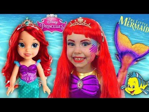 Kids Makeup The Little Mermaid Ariel Princess Disney and Costume Mermaid Tail DRESS UP & Play Dolls