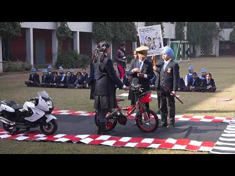 Enactment on Road Safety by the students of Guru Nanak Public School (Primary wing) Ludhiana.
