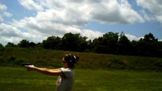 wife girl shooting gun 9mm luger she is shaking in shoes