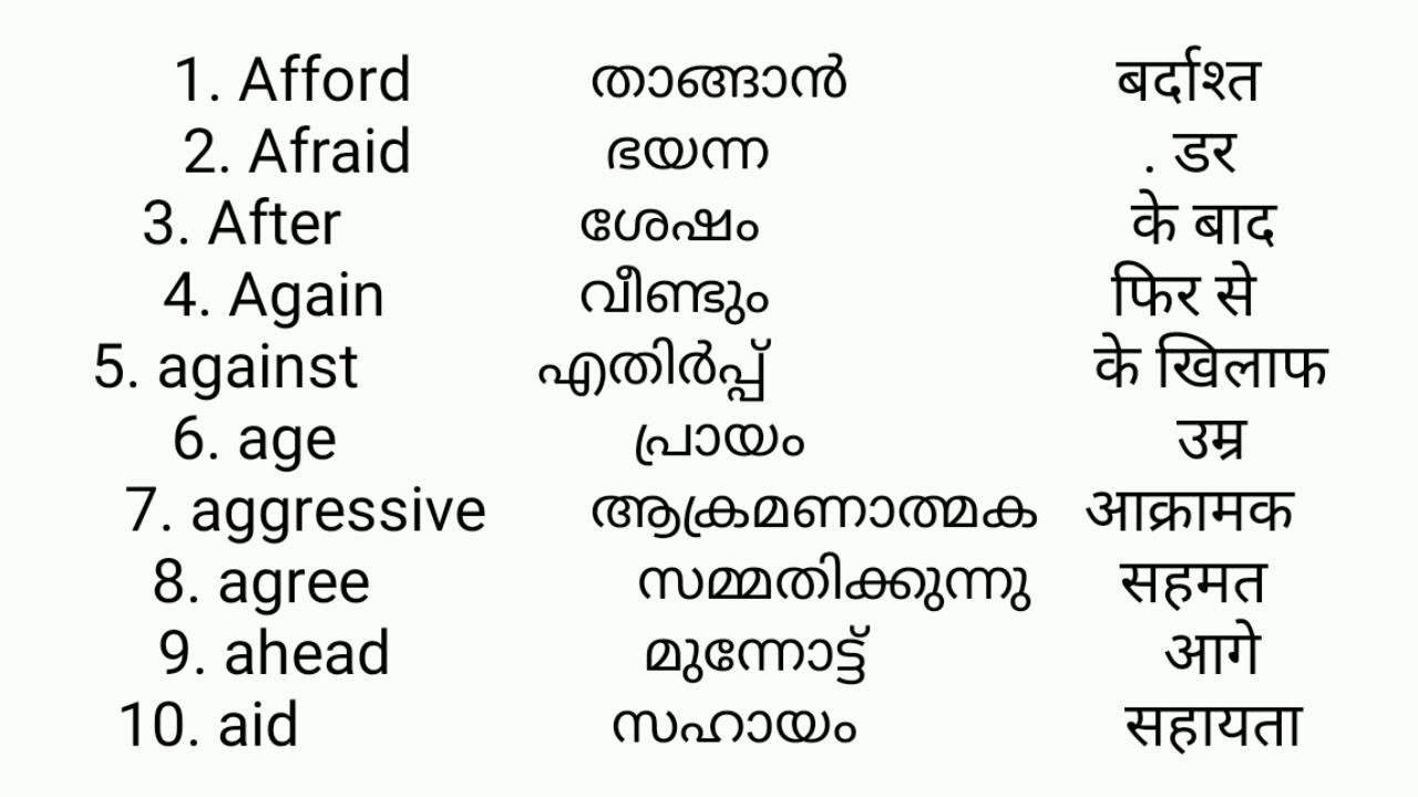 Define Meaning Malayalam