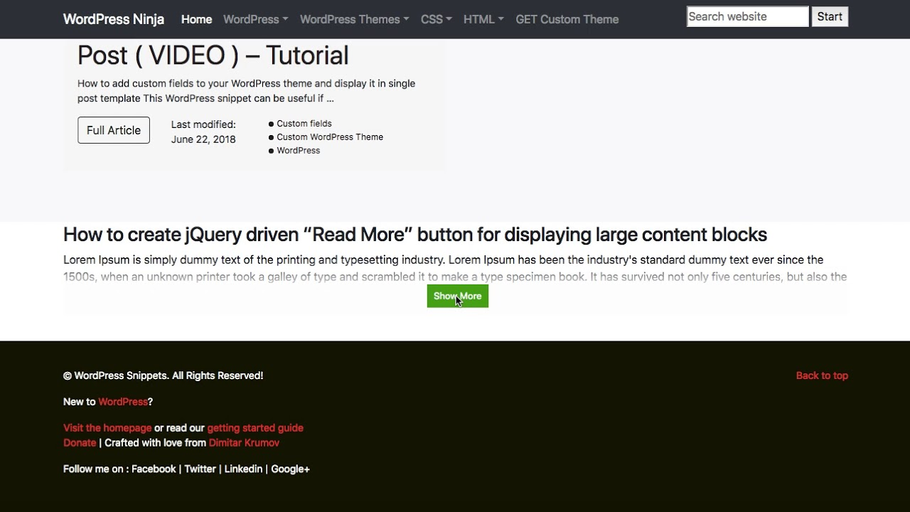 How to create jQuery driven