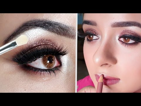 "glittery smokey eye makeup with ""affordable"" products"