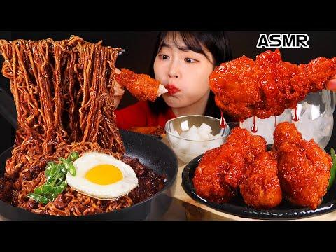 ASMR MUKBANG Chapaghetti, Seasoned Chicken, Green Onion Kimchi, Eating