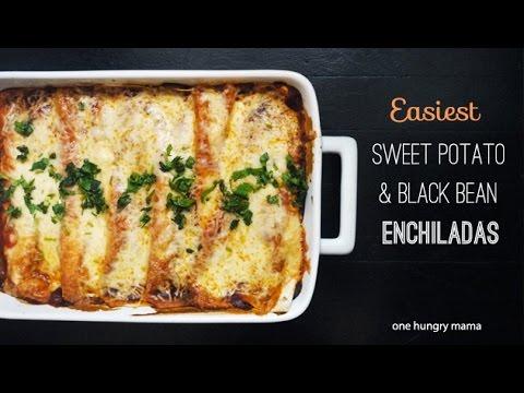 Easiest Sweet Potato & Black Bean Enchiladas | One Hungry Mama
