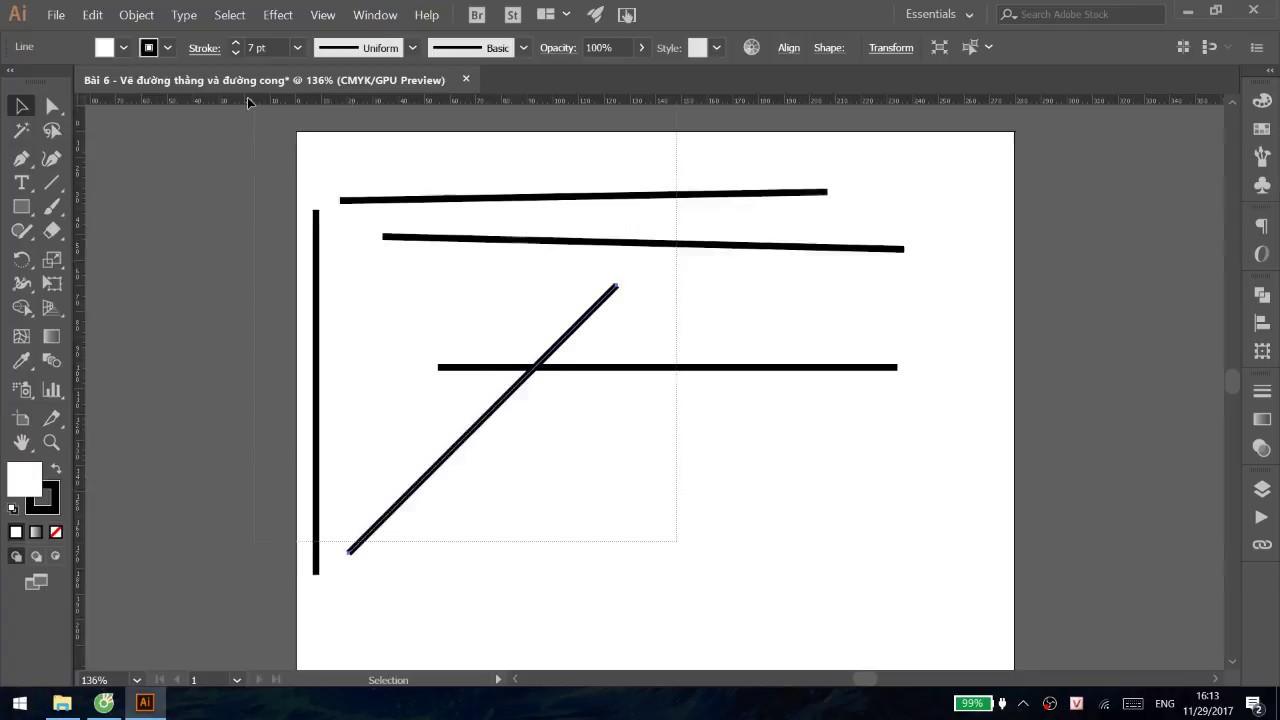 [Bài 6] – Cách tạo đường thẳng và đường cong – Illustrator Căn Bản| Thằng Lười – Đồ Họa Online