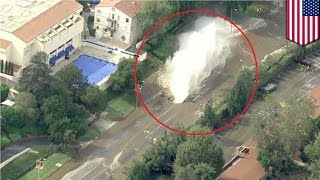 UCLA flood: 5 people rescued as broken water main spews 10m gallons of water onto Sunset Blvd
