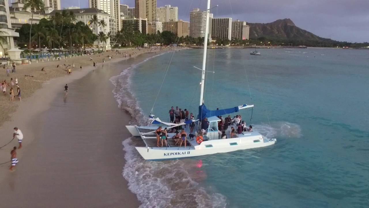 Sunset Catamaran Ride Off Waikiki Beach On Oahu Hawaii Dji Phantom 3