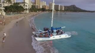 Sunset Catamaran ride off Waikiki Beach on Oahu Hawaii - DJI Phantom 3