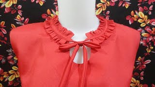 how to sewing a woman dress with wringkle neck design