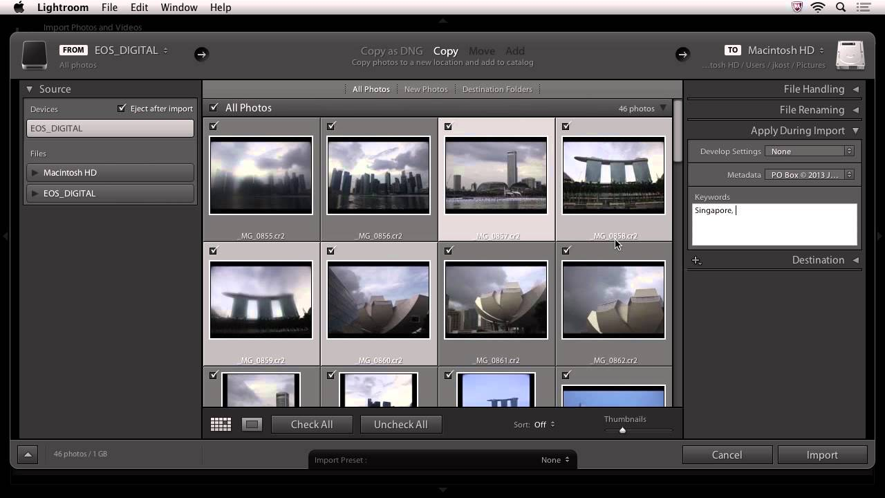 Lightroom 5:  Importing Your Images