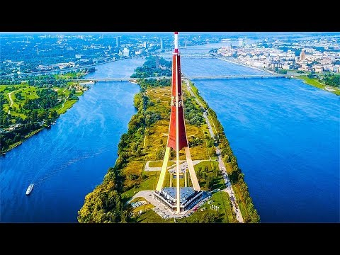 RIGA - LATVIA. Best Travel Destination in Baltic States. DJI Mavic Drone Aerial Footage in 4k.