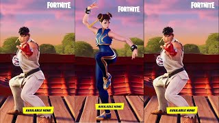 Ryu and Chun-Li Emotes! (Fortnite Battle Royale)