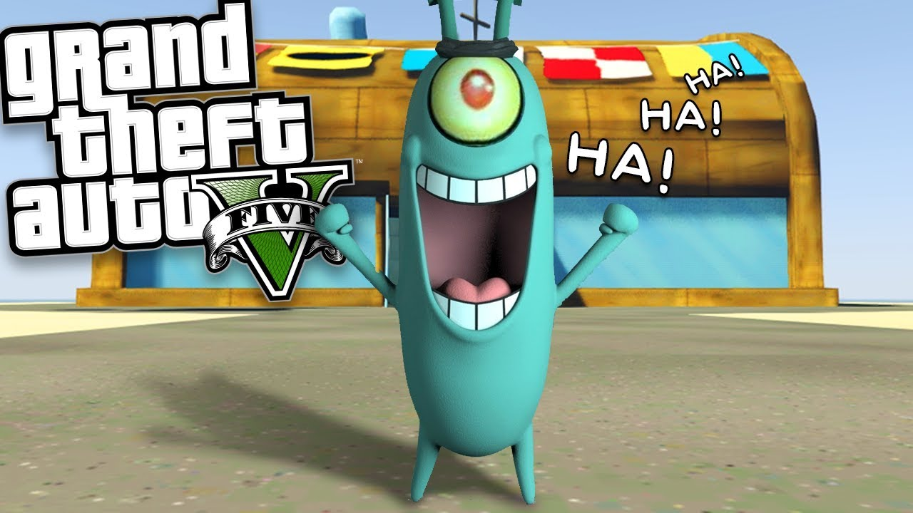 Plankton Takes Over The Krusty Krab Mod W Spongebob Mr Krabs Gta  Mods Gameplay
