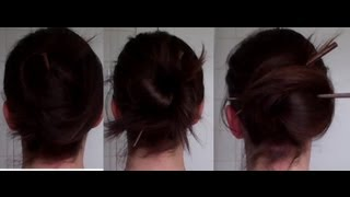 9 quick, EASY & PRETTY CHOPSTICK updos hairstyle (howto tutorial) - Vintagious