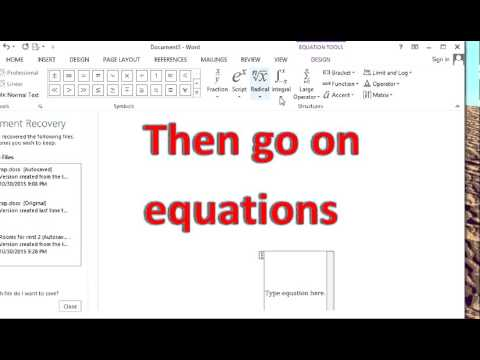 How to put square root in Word