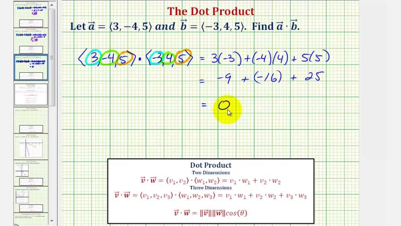 Ex: Dot Product Of Vectors