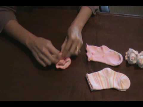 How to make a baby sock rose baby gift idea youtube how to make a baby sock rose baby gift idea negle