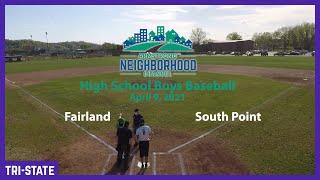 High School Boys Baseball  Fairland vs South Point
