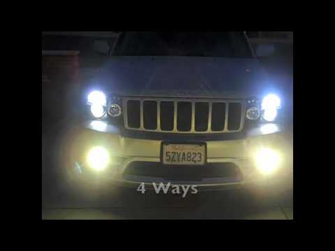 jeep srt8 projector headlights w/ hid lows and fogs and led turn signals -  youtube