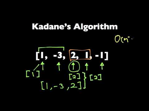 Kadane's Algorithm to Maximum Sum Subarray Problem
