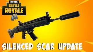 "Fortnite:Battle Royale ""Suppressed Assault Rifle"" Update Today - Fortnite Suppressed Scar gameplay"