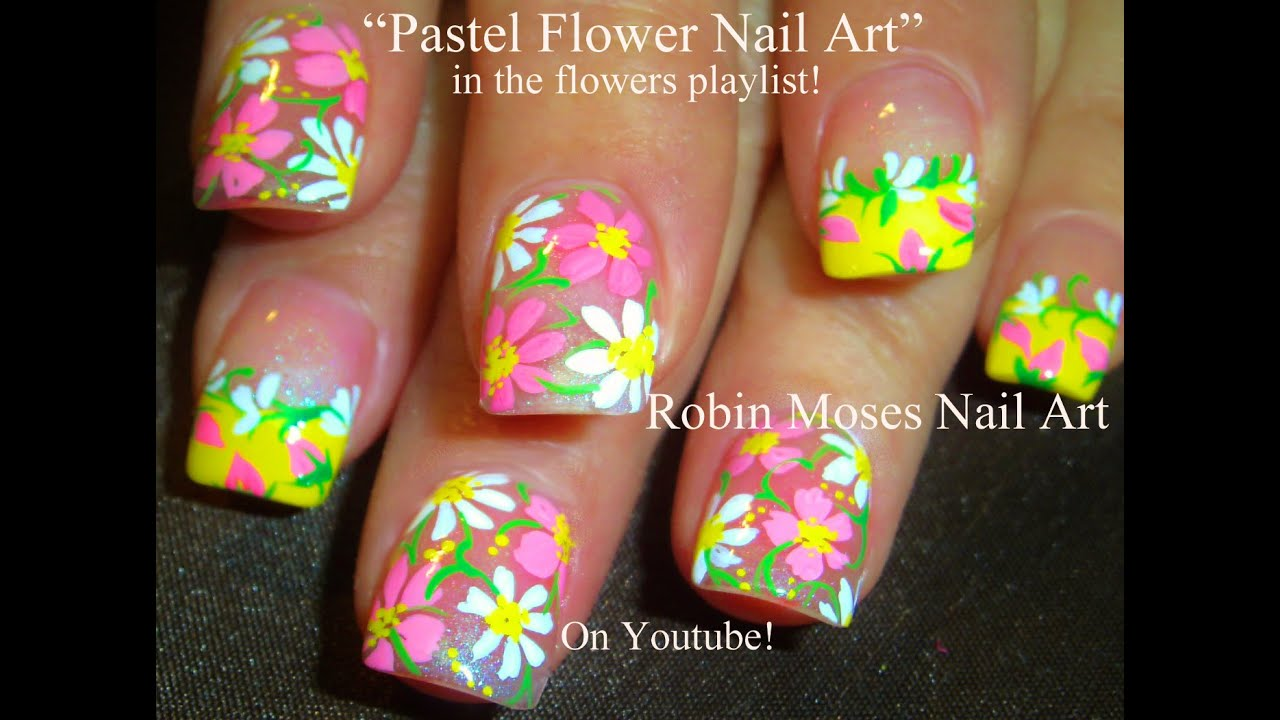 YouTube Premium - Easy Spring Flowers Nail Art Cute Pastel Daisy Nails - YouTube