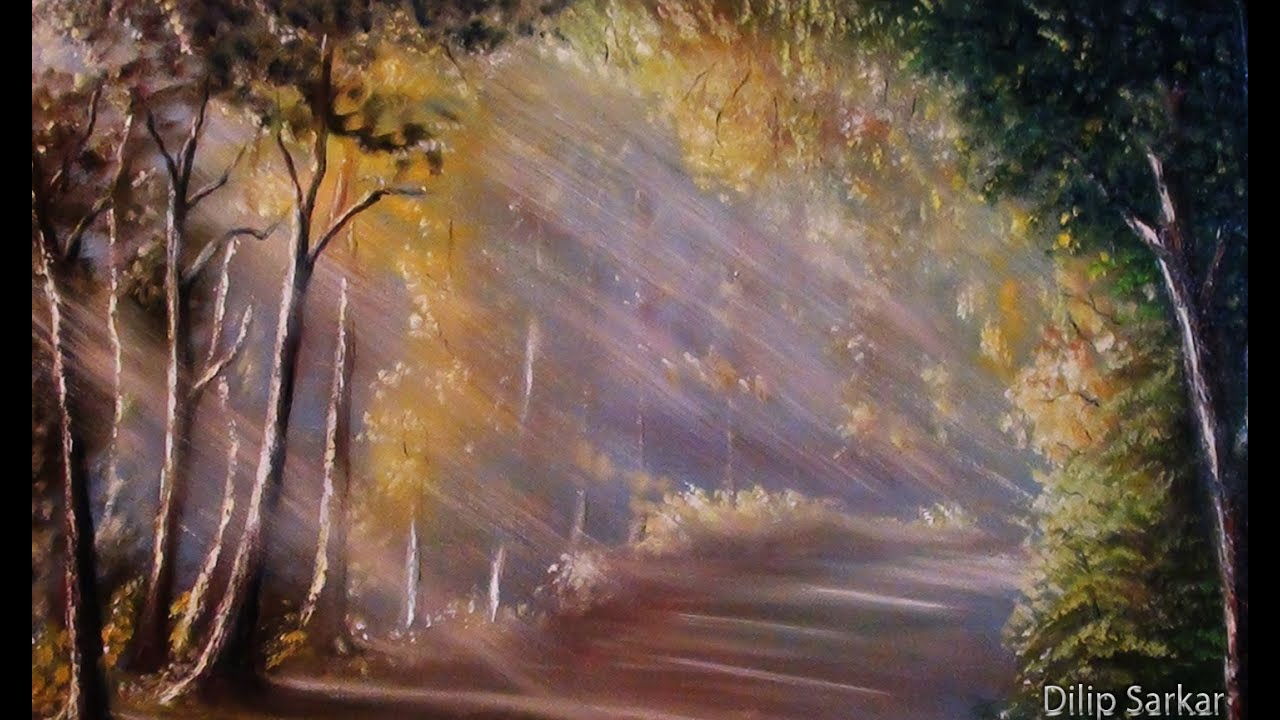 How To Draw Oil Painting  Sun Ray In Forest Step By Step