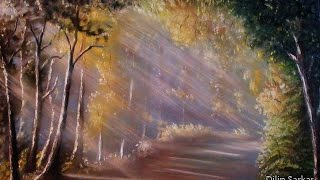 how to draw oil painting,  Sun Ray in forest step by step  -  With Dilip Art