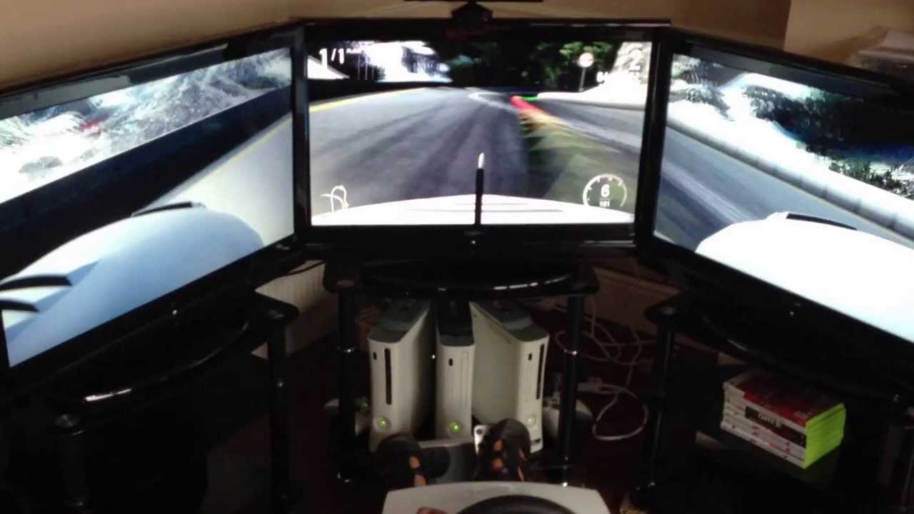 Three 32 Quot Lcd Tv Screen Forza 4 Racing Game Triple Lcd