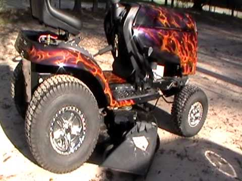 Custom Ridding Lawn Mower With Trufire Paint And Skull