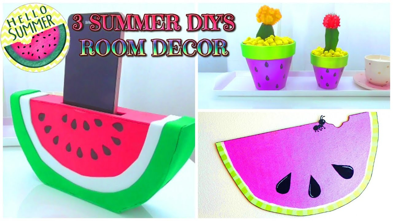 3 DIY SUMMER room decor IDEAS para decorar tu cuarto con ... on Room Decor Manualidades Para Decorar Tu Cuarto id=64589