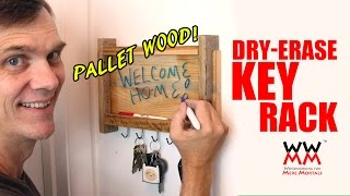 Make this fun key rack for your home using pallet wood. It's also a dry erase board! Thumbnail
