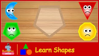 Wrong Wooden Slots with Crying Shapes Learn Triangle Crescent Pentagon Decagon for Kids