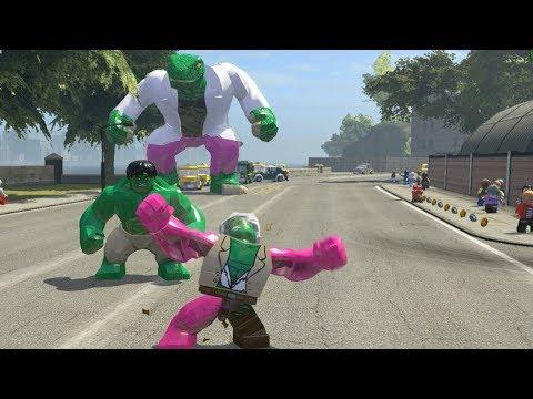 Hulk vs Big Lizard Vs Pink Stanlee(Transformation) - LEGO Marvel Super Heroes Games