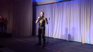 boy tim giving his speech at the 2015 International Leather boy Contest