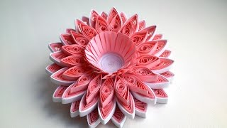 DIY Paper 3D Quilling Tutorial - Pink 3D Quilling flower.