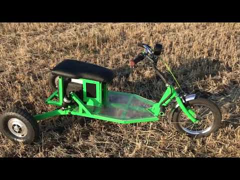 Электросамокат из гироскутера 3 колеса. Electric Scooter 3 Wheel 60V 20A Made Of Gyroscooter.