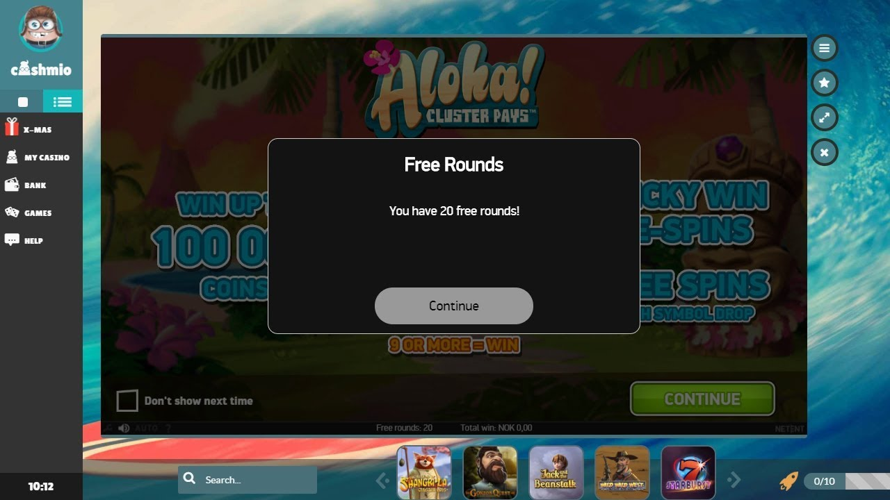 Cashmio Casino - How to Register and Get 20 Free Spins Signup Bonus (Aloha! Cluster Pays)