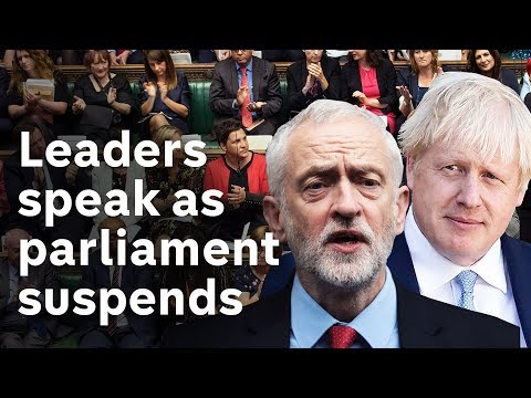 Boris Johnson and Jeremy Corbyn give speeches as parliament suspends