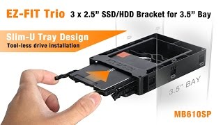 """ICY DOCK EZ-FIT Trio MB610SP 3 x 2.5"""" SSD / HDD Bracket for 3.5"""" Drive Bay"""