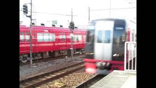 名鉄3500系3522F試運転列車の発車と2200系の通過 美合駅にて