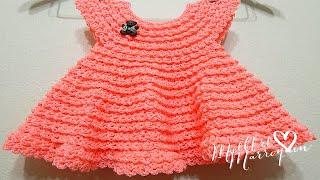 Repeat youtube video Vestido Crochet 0-3 meses Durazno y cualquier talla parte 1 de 2