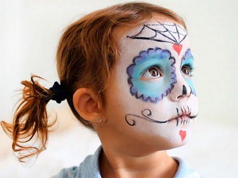 Maquillaje de halloween para ni as calavera mexicana - Como pintar la cara de nina de bruja ...