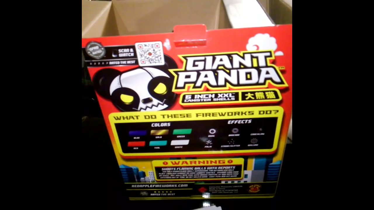 New 2018 Giant Panda 6' Canister-Red Apple Fireworks Exclusive