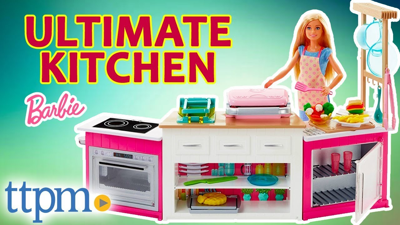 barbie kitchen playset white porcelain sink ultimate chef doll review mattel toys games