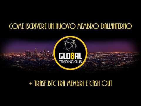 Global Trading Club - Iscrizione Membri dal backoffice, Trasferimento Bitcoin, Cashout