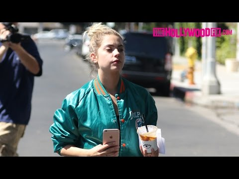 Ashley Benson Sports A Vintage Dolphins Jacket While On A Coffee Run At Alfreds 9.29.16