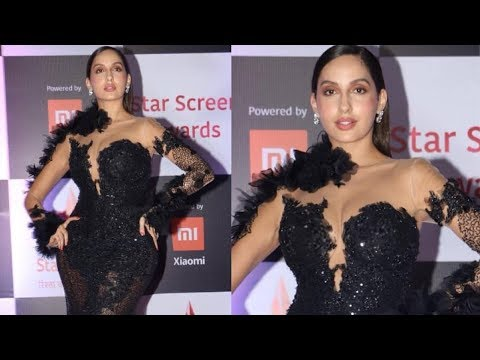 Dilbar Babe NORA FATEHI Looks H0T @STAR SCREEN AWARDS 2018