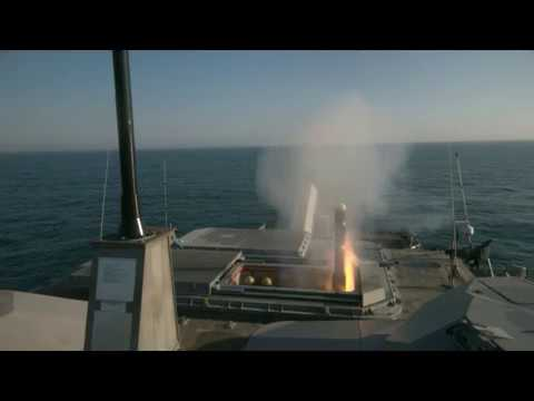 USS Milwaukee fires a Longbow Hellfire missile during a live-fire missile exercise.
