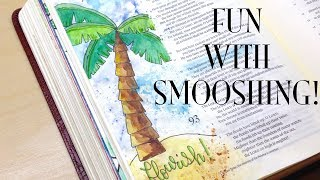 Bible Journaling: Smooshing With Watercolor | Flourish (Psalm 92)